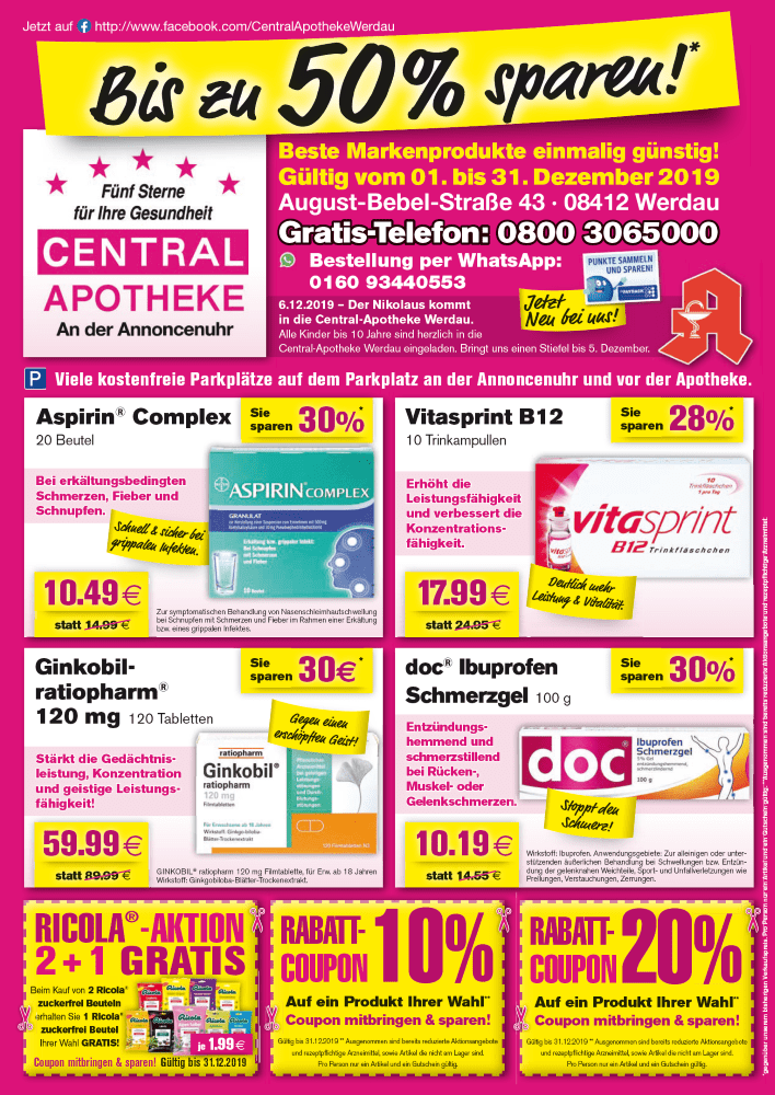 Angebote Rabatt Gutschein Central Apotheke Werdau Dezember 2019 1 (2)
