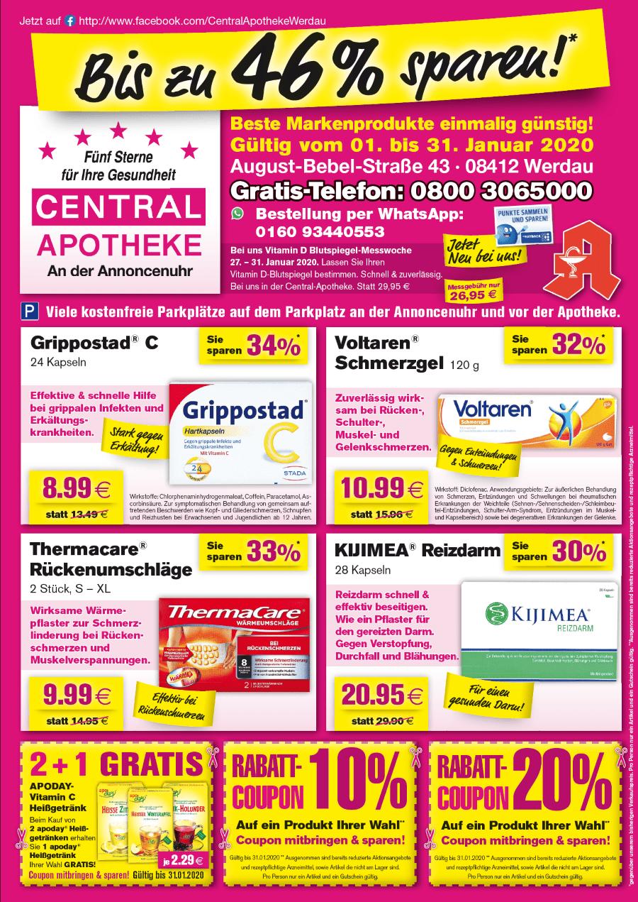 Angebote Central Apotheke Werdau Januar 2020 vorn Fraureuth Rabatt Gutschein