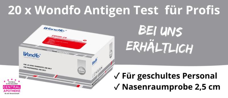 Wondfo Antigen Test für Profis Firmen Personal Unternehmen Physiotherapie Pflegedienst Central Apotheke Werdau